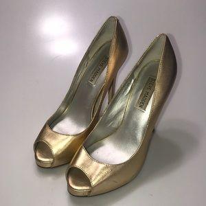 Steve Madden Forgive Gold Leather Open Toe Heels